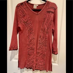Parsley & Sage Tunic Long Sleeve V Neck Large